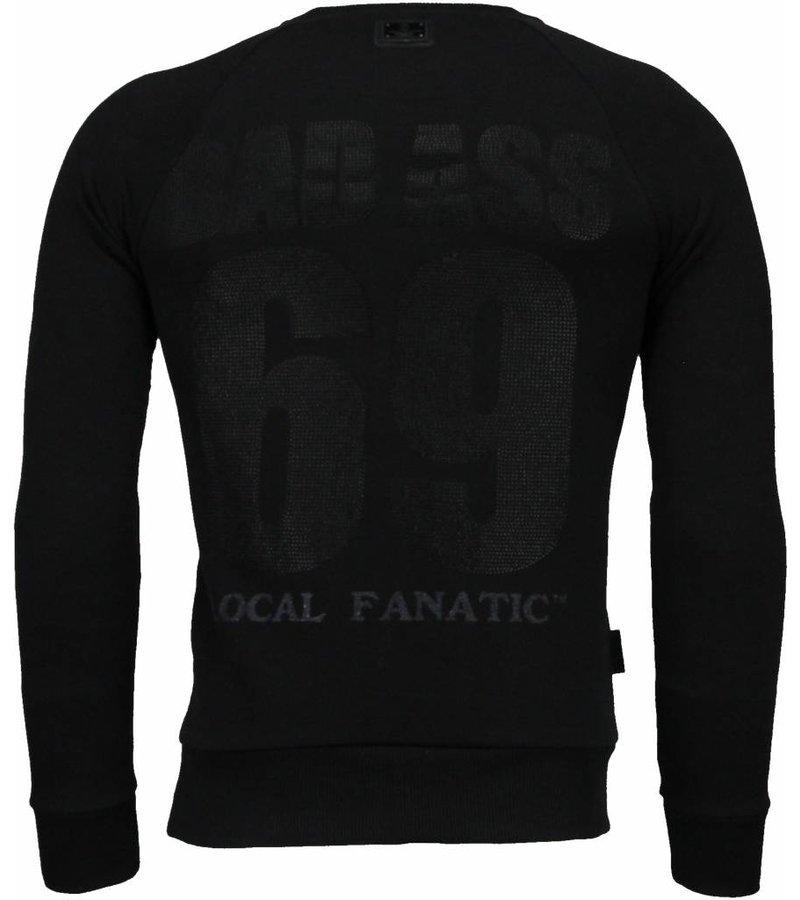 Local Fanatic PlayBunny 69 - Rhinestone Sweater - Zwart