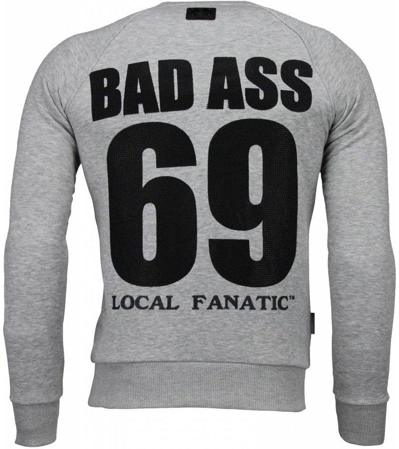 Local Fanatic PlayBunny 69 - Rhinestone Sweater - Grijs