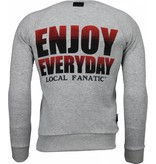Local Fanatic Bilzarian - Rhinestone Sweater - Grijs