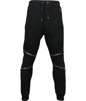 Maximal Casual Joggingbroek - Slim Fit Ribbel Style Rits - Zwart