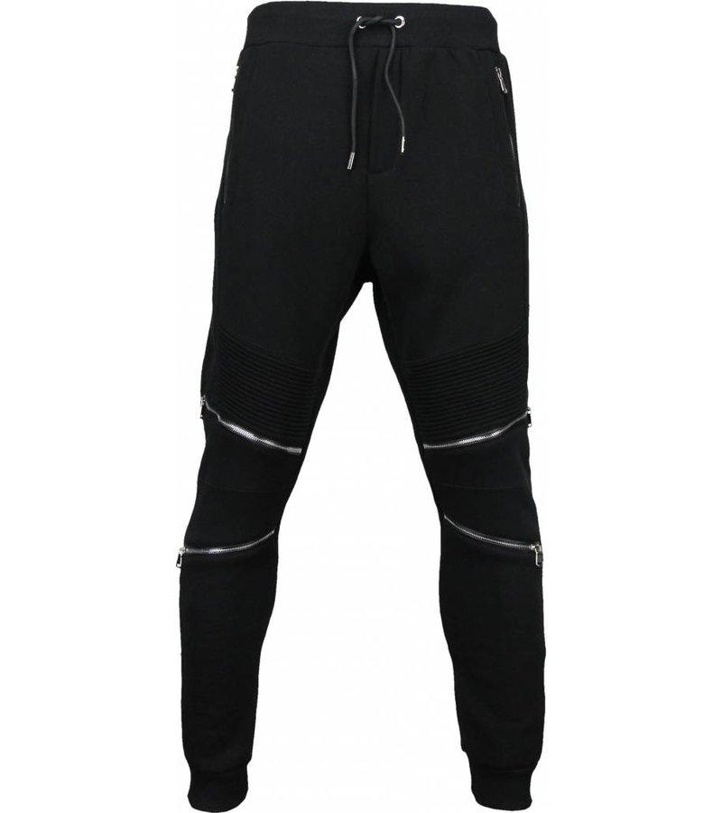 Maximal Casual Joggingbroek - Slim Fit Ribbel Style Rits - Zwart