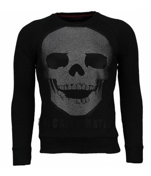Local Fanatic Skull Legend - Rhinestone Sweater - Zwart