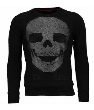 Local Fanatic Skull Legend - Rhinestone Sweater - Zwart
