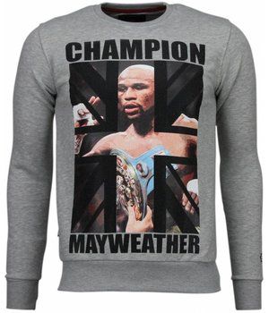 Local Fanatic Mayweather - Rhinestone Sweater - Grijs
