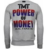 Local Fanatic Mayweather - Rhinestone Sweater - Grijs