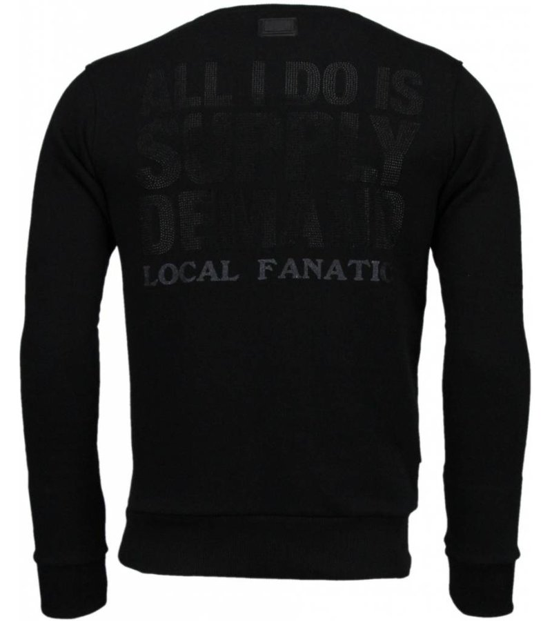 Local Fanatic Al Capone - Rhinestone Sweater - Zwart