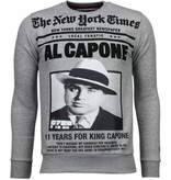 Local Fanatic Al Capone - Rhinestone Sweater - Grijs