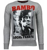 Local Fanatic Rambo - Rhinestone Sweater - Grijs