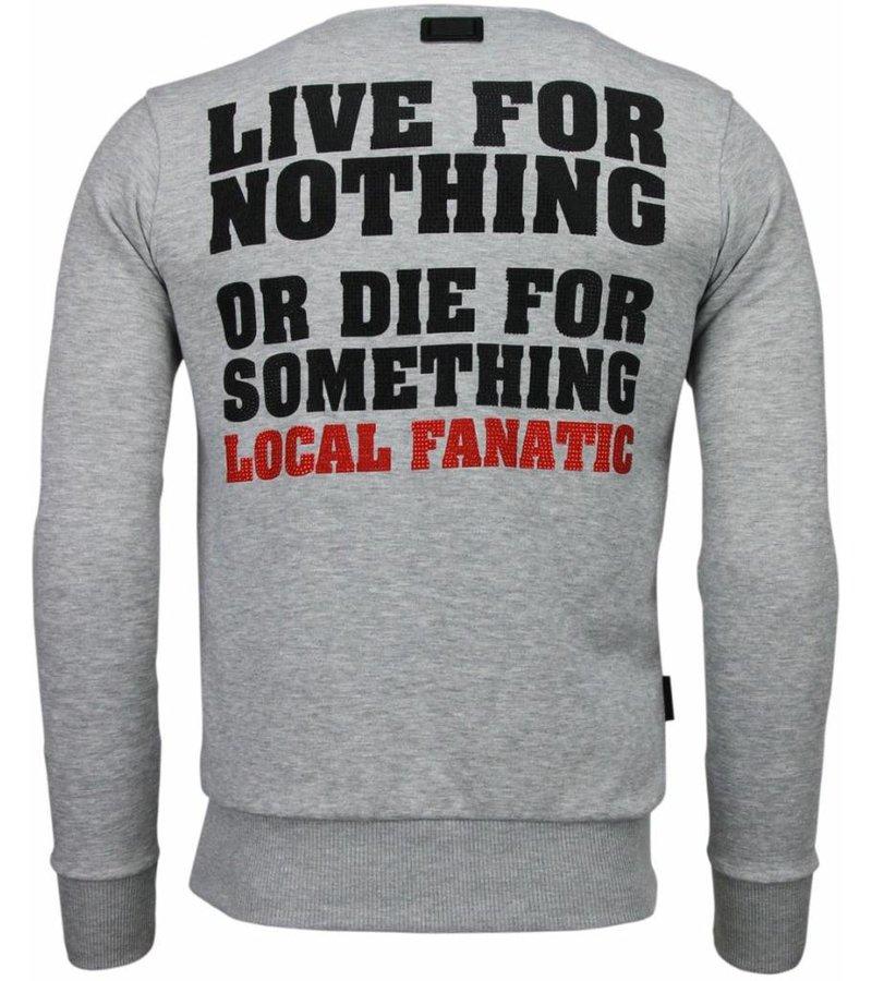 Local Fanatic Rambo - Rhinestone Sweater - Grijs