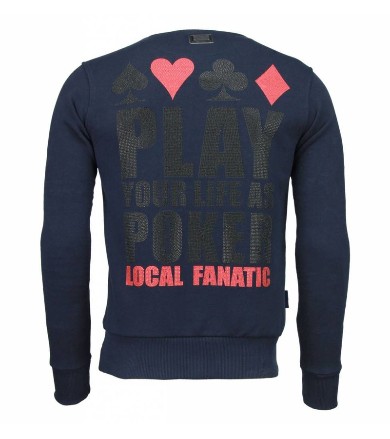 Local Fanatic Hot & Famous Poker - Bar Refaeli - Rhinestone Sweater - Navy