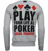 Local Fanatic Hot & Famous Poker - Bar Refaeli - Rhinestone Sweater - Grijs