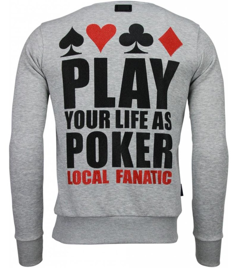 Local Fanatic Hot & Famous Poker - Bar Refaeli - Rhinestone Sweater - Grijs