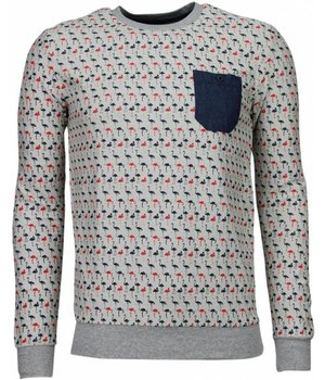 Black Number Flamingo - Sweater - Grijs