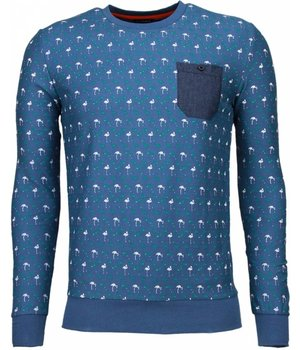 Black Number Flamingo - Sweater - Licht Blauw