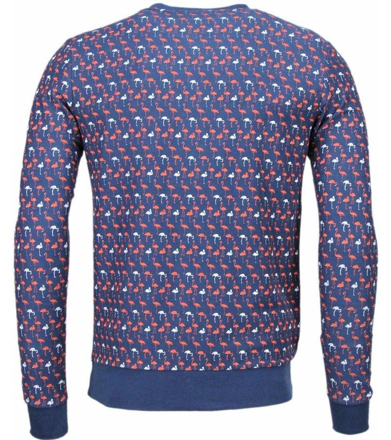 Black Number Flamingo - Sweater - Donker Blauw