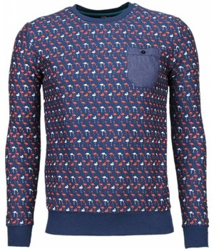 Black Number Flamingo - Sweater - Donker Blauw