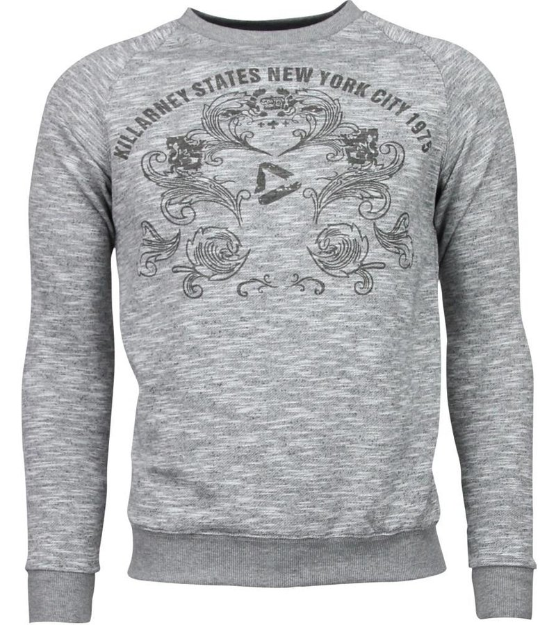 Enos New York City Print - Sweater - Grijs