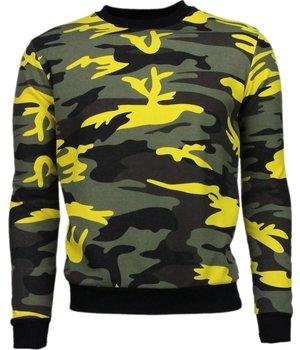 KariQu Kleur Leger Print - Sweater - Geel/Zwart