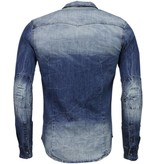 Enos Denim Overhemd - Slim Fit Lange Mouwen Heren - Basic Denim - Blauw