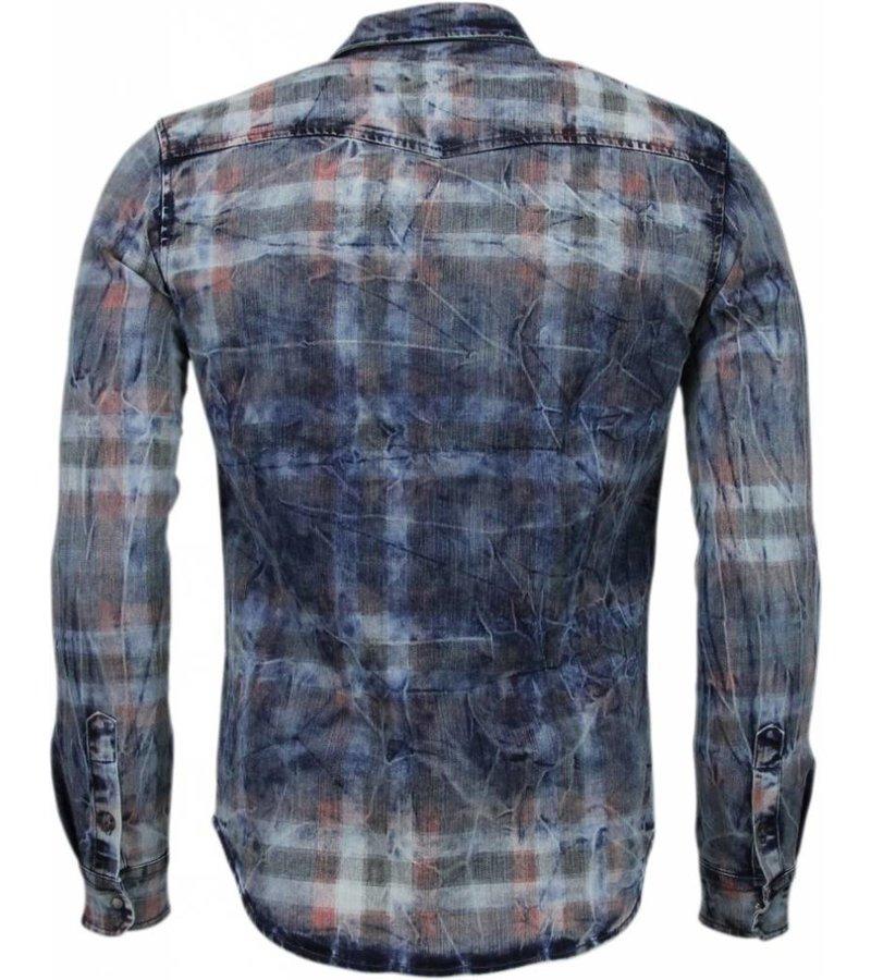 Enos Denim Overhemd - Slim Fit Lange Mouwen Heren - Kleur Print - Blauw