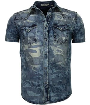 Enos Denim Heren Overhemd - Korte Mouwen - Leger Motief - Blauw