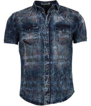 Enos Denim Heren Overhemd - Korte Mouwen - Kleur Print - Blauw