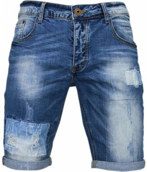 Enos Korte Broeken Heren - Slim Fit Denim Square Borduur - Blauw