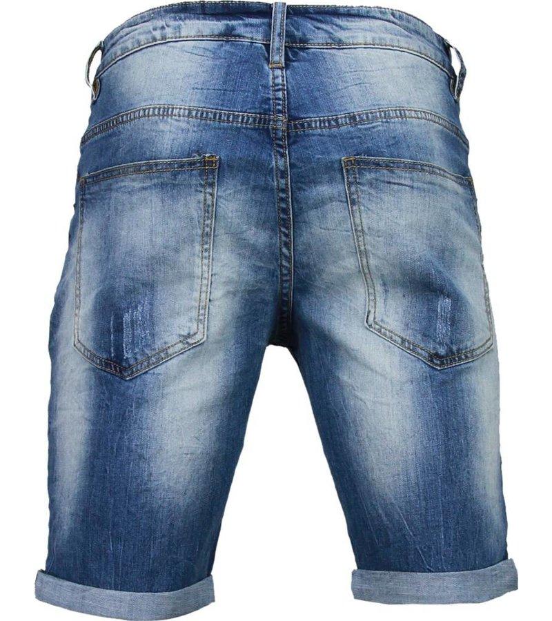 Enos Korte Broeken Heren - Slim Fit Denim Square Borduur - Blauw