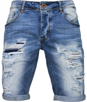 Enos Korte Broeken Heren - Slim Fit Denim Damaged Short - Blauw