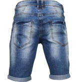 Enos Korte Broeken Heren - Slim Fit Denim Damaged Short - Blauw