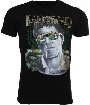Mascherano T-shirt Made To Get Paid Scarface - Zwart
