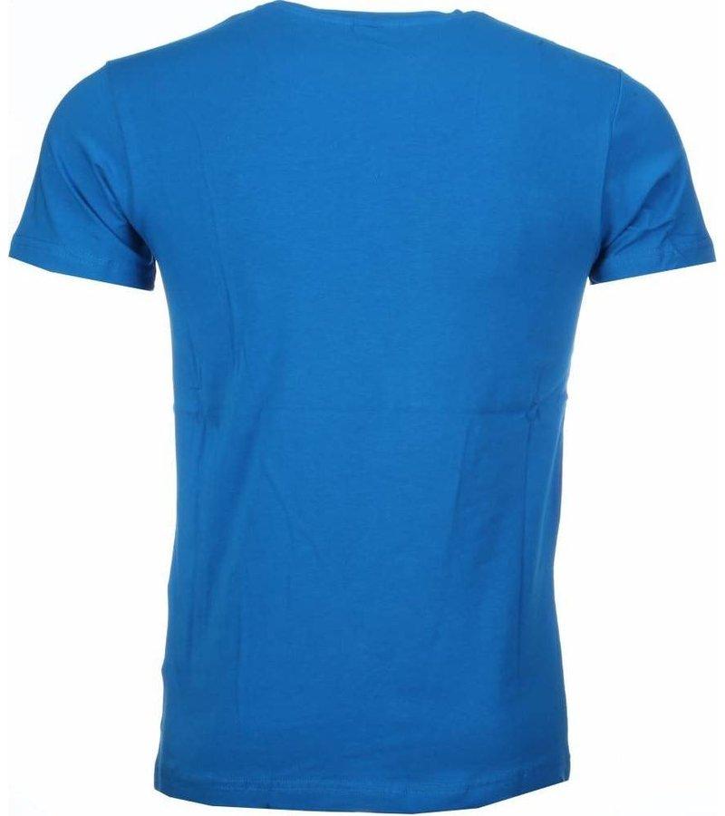Mascherano T-shirt - Anonymous Disobey Print - Blauw