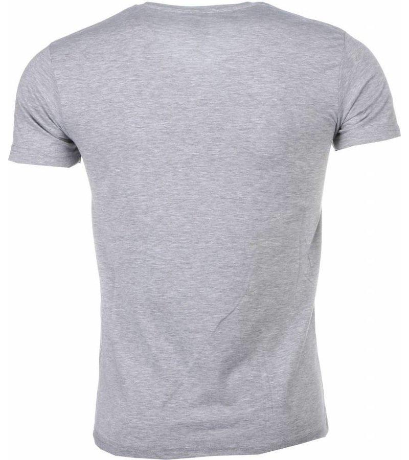 Mascherano T-shirt - James Bond From Russia 007 Print - Grijs