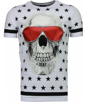 Local Fanatic Star Skull - Rhinestone T-shirt - Wit