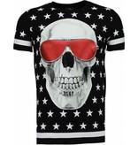 Local Fanatic Star Skull - Rhinestone T-shirt - Zwart