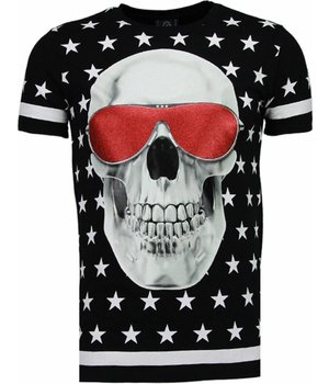 Local Fanatic Star Skull - Rhinestone T-shirt - Zwart
