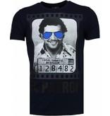 Local Fanatic Pablo Escobar El Patron - Rhinestone T-shirt - Navy