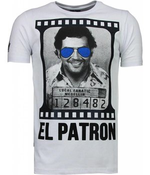 Local Fanatic Pablo Escobar El Patron - Rhinestone T-shirt - Wit