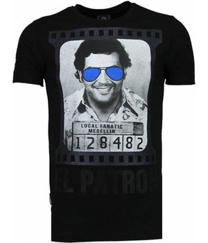 Local Fanatic Pablo Escobar El Patron - Rhinestone T-shirt - Zwart