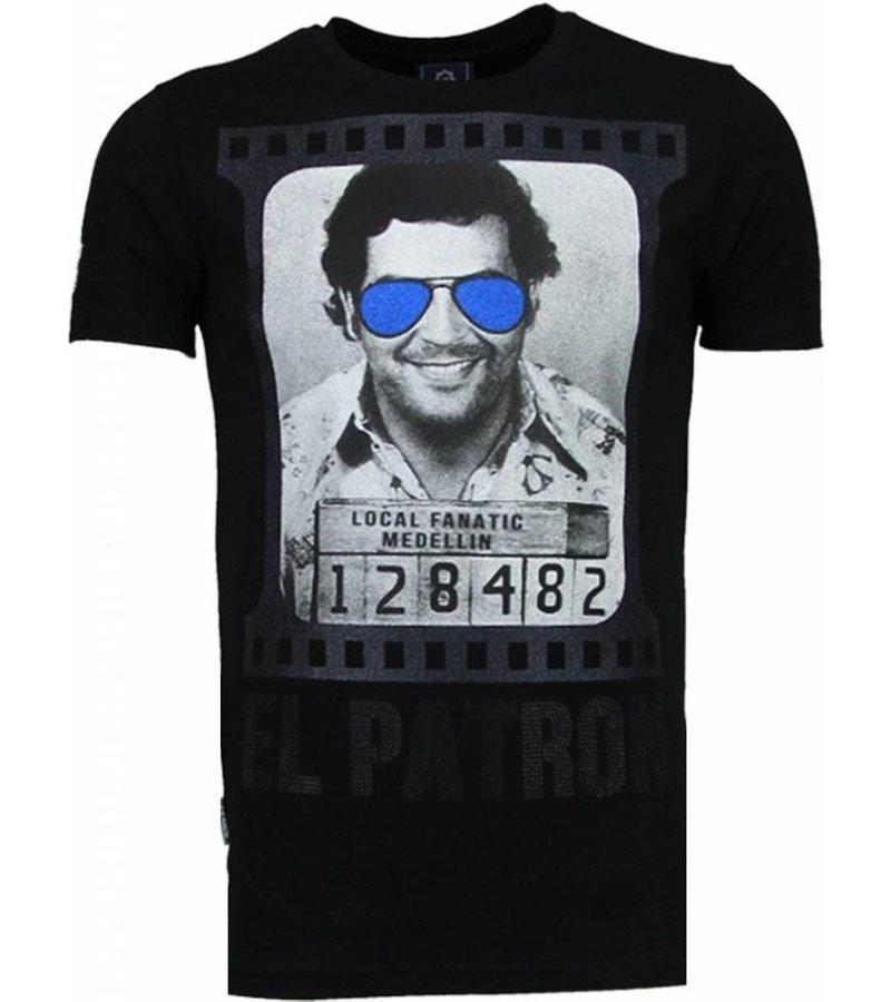 Local Fanatic Pablo Escobar El Patron - Rhinestone T-shirt - Zwart