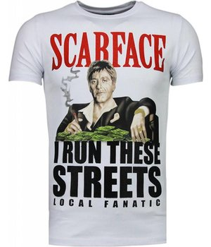 Local Fanatic Scarface Boss - Rhinestone T-shirt - Wit