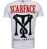 Local Fanatic Scarface Boss - Rhinestone T-shirt - Wit