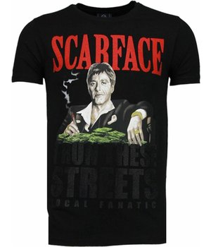 Local Fanatic Scarface Boss - Rhinestone T-shirt - Zwart