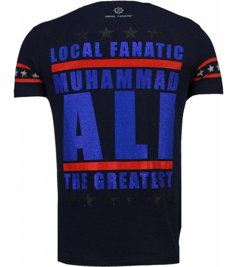 Local Fanatic Muhammad Ali - Rhinestone T-shirt - Navy