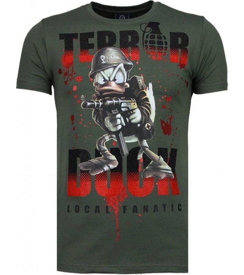 Local Fanatic Terror Duck - Rhinestone T-shirt - Groen
