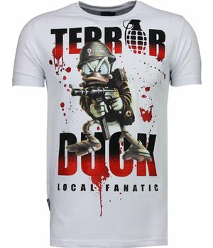 Local Fanatic Terror Duck - Rhinestone T-shirt - Wit