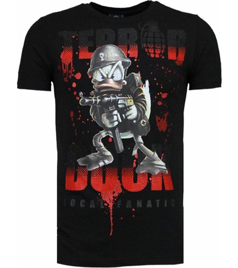 Local Fanatic Terror Duck - Rhinestone T-shirt - Zwart