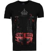 Local Fanatic Pablo Escobar Boss - Rhinestone T-shirt - Zwart