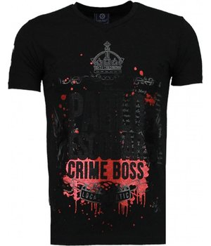 Local Fanatic Pablo Escobar Boss - Rhinestone T-shirt - Zwart