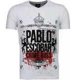 Local Fanatic Pablo Escobar Boss - Rhinestone T-shirt - Wit